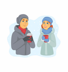 spending winter together - modern cartoon vector image