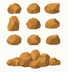 stones and rocks brown stones boulders vector image