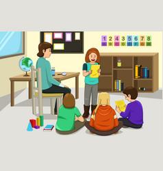 Student doing presentation vector