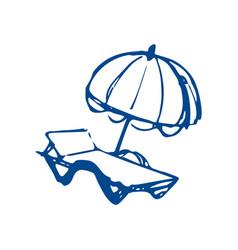 Sun lounger and umbrella on beach sketch vector