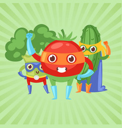 superhero vegetables in masks vector image