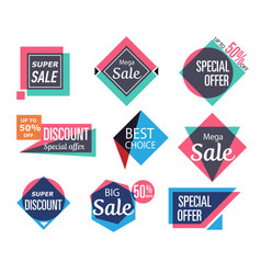 supermarket sale stickers in trendy style vector image