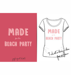 t shirt of pink cartoon lettering vector image