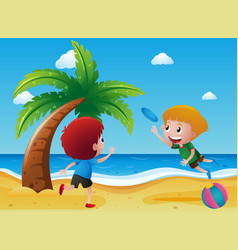 Two boys playing frisbee on the beach vector