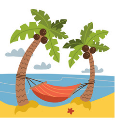 vacation and travel concept red hammock between vector image