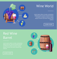 wine world and wooden barrels internet pages set vector image