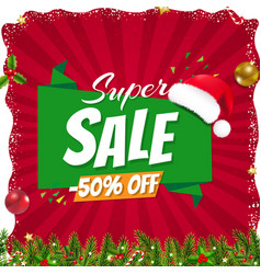 xmas sale poster with christmas origami banner vector image