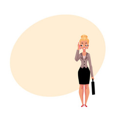 young blond businesswoman with briefcase calling vector image vector image