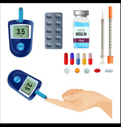 device to measure sugar level and medicines for vector image