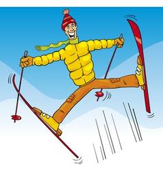 man jump on ski cartoon vector image vector image