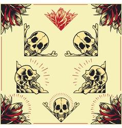 Skull and Rose Frames set 01 vector image