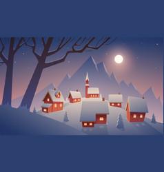 village in snow vector image vector image