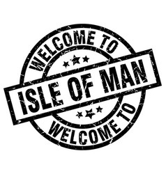 welcome to isle of man black stamp vector image vector image