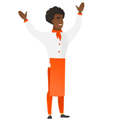 chef cook standing with raised arms up vector image vector image