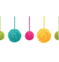 colorful decorative pompoms big and small vector image vector image