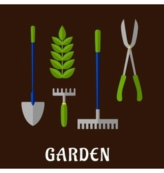 Isolated gardening tools flat icons vector image