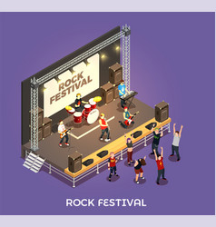 rock festival isometric composition vector image vector image