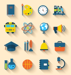 Set of Education Flat Colorful Icons with Long vector image