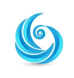 Swirly waves icon logo vector image