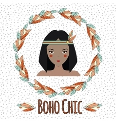 Boho indian girl in feather wreath vector image