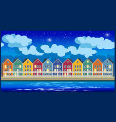 colorful houses at night vector image vector image
