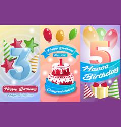happy birthday kids postcard set vector image vector image