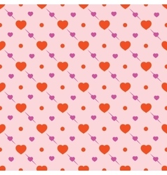 Heart and circle seamless pattern vector
