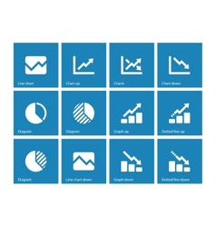 Line chart and Diagram icons on blue background vector image