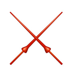 two crossed lances in red design vector image