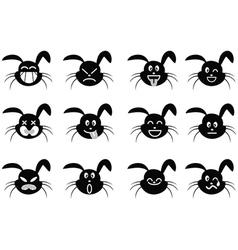 cartoon rabbit face icon vector image vector image