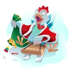 Christmas cock rolls on sledge from mountain Blue vector image vector image