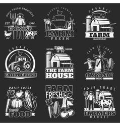 Dark Farm Emblems Set vector image vector image