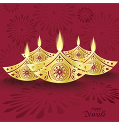 design of burning diwali diya for greeting card vector image