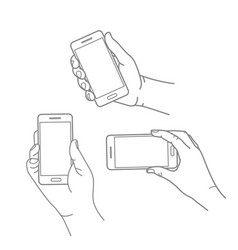 different hands with modern smartphone collection vector image vector image