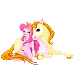 Fairy and Unicorn vector image vector image