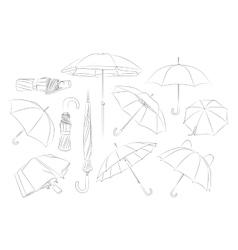 Hand drawn umbrellas set vector image vector image