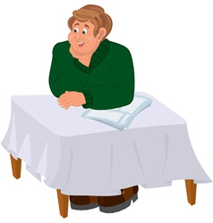 Happy cartoon man sitting at the table vector image vector image