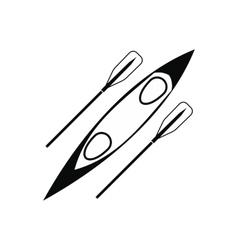 Kayak and rowing oar black simple icon vector image vector image