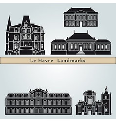 Le Havre landmarks and monuments vector image vector image