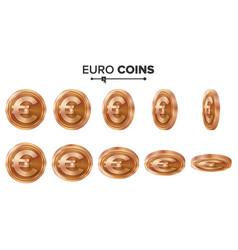 Money euro 3d copper coins set realistic vector