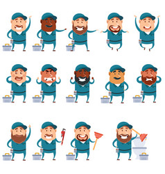 set of flat plumber icons vector image vector image