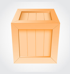 wooden box on white background vector image vector image