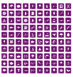100 microbiology icons set grunge purple vector