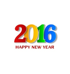 2016 Happy New Year colorful design over white vector image