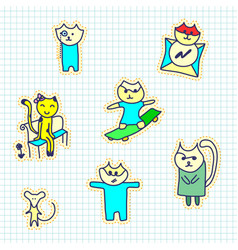 A set of stickers with cats handmade sketch vector