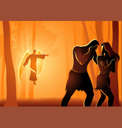 adam and eve expelled from garden vector image