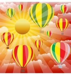 Aerostat balloons over sunset sky vector