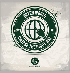 alternative green world stamp vector image