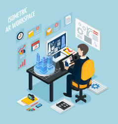 Augmented reality workplace isometric composition vector