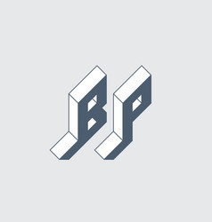 B and p - monogram or logotype isometric 3d font vector